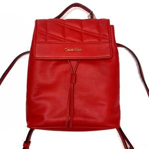 Calvin Klein Medium Red Leather Backpack